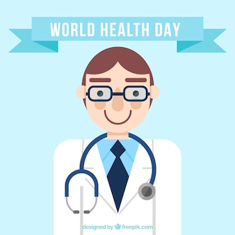 Weltgesundheitstag Hintergrund mit lächelndem Arzt