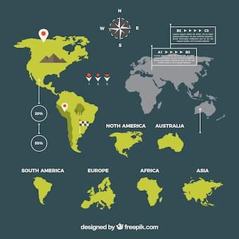 Weltkarte in flachem Design mit infografischen Elementen