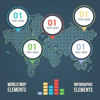 Weltkarte mit infografischem Design