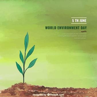 Weltumwelt Tag Hintergrund mit einsamen Pflanze