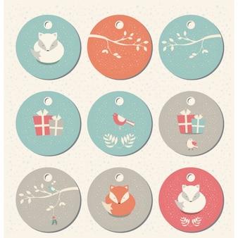 Winter-Etiketten Sammlung