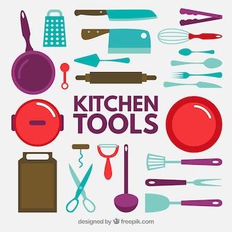 Wohnung Küche-Werkzeug-Icon Collection