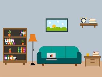 Wohnzimmer mit Holzmöbeln in flaches Design