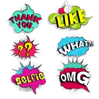 Wort-Dialog-Set-Comic-Comic-Blase