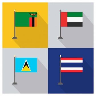 Zambia Vereinigte Arabische Emirate St. Lucia und Thailand Flaggen