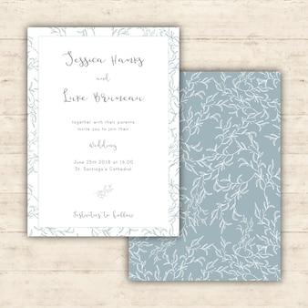 Zarte Hochzeitseinladung mit botanischen Mustern