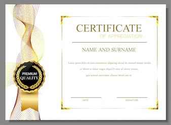 Zertifikat der Wertschätzung Design