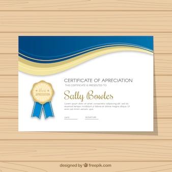 Zertifikat der Wertschätzung mit wellenförmigen Formen