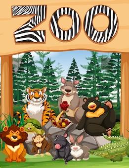 Zoo Eingang mit vielen wilden Tieren unter dem Schild