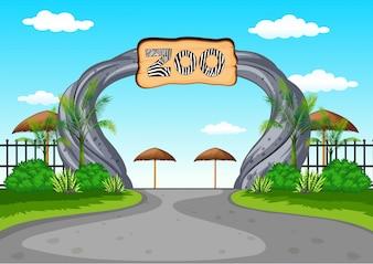 Zoo Eingang ohne Besucher