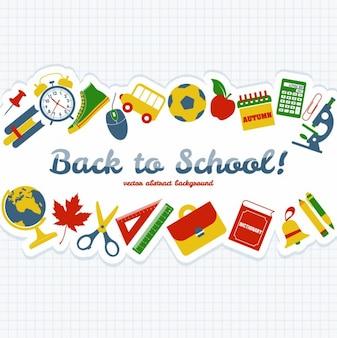 Zurück in der Schule Objekte Hintergrund