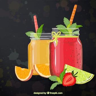 Zusammenfassung Hintergrund mit leckeren Fruchtsäften