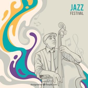 Zusammenfassung Hintergrund mit Skizze des Musikers