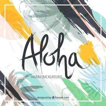 Zusammenfassung Hintergrund von Aloha mit Pinselstrichen