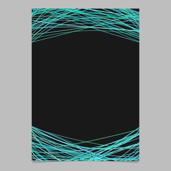 Zusammenfassung Seite Vorlage mit zufälligen Zeilen - leere Vektor-Poster-Illustration auf schwarzem Hintergrund