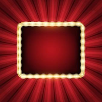 Zusammenfassung Starburst Hintergrund mit leuchtendem Neon-Rahmen