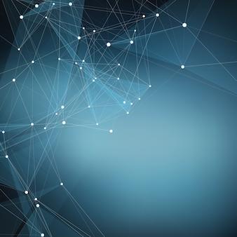 Zusammenfassung Vektor blau Mesh Hintergrund. Chaotisch verbundene Punkte und Polygone, die im Weltraum fliegen. Fliegende Trümmer Futuristische Technologie-Style-Karte. Linien, Punkte, Kreise und Flugzeuge. Futuristisches Design.