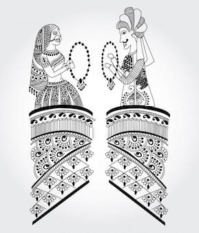 Zwei dekorative indische Frauen
