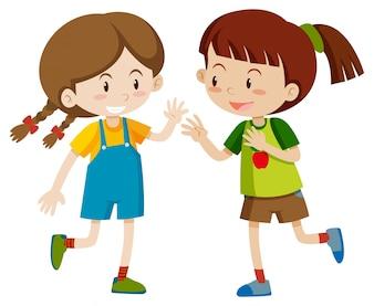 Zwei glückliche Mädchen spielen