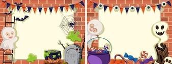 Zwei Hintergrundvorlagen mit Halloween Thema
