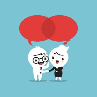 Zwei Personen sprechen Sprechblasen