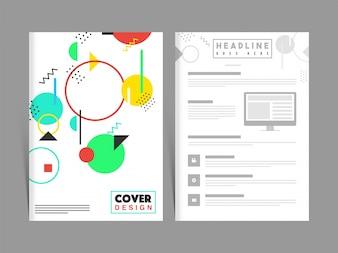Zwei Seiten Firmenbroschüre, Cover Design für Unternehmen.