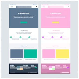 Zwei Seiten-Website-Vorlage und verschiedene Kopf-Designs.