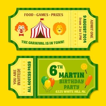 Zwei Vintage Zirkus Karneval Geburtstagsfeier Einladung Tickets Vorlagen mit Clown und Ballon isoliert Vektor-Illustration