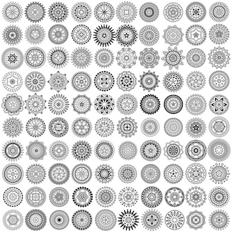100 círculos de mandala de vetor preto