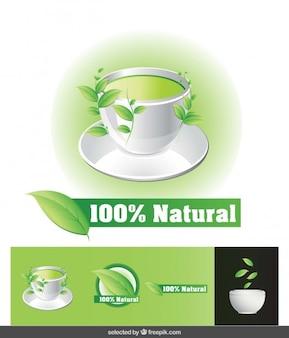 100% natural chá ilustração