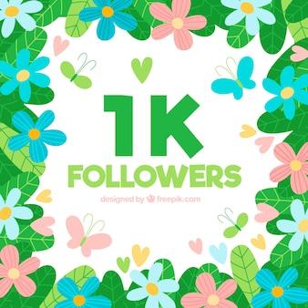 1k seguidores fundo de flores e borboletas