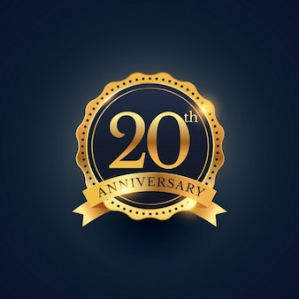 20 rótulo celebração emblema aniversário na cor dourada
