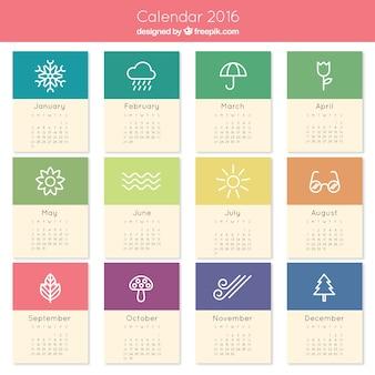 2016 bonito calendário