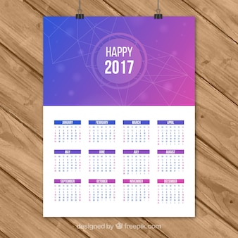 2017 calendário abstrato roxo feliz