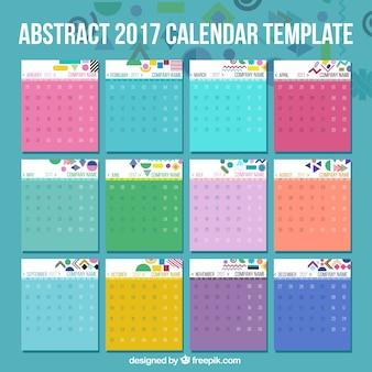 2017 Modelo de calendário com detalhes abstratos
