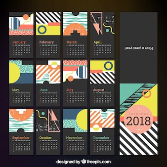 2018 calendário com linhas e formas geométricas