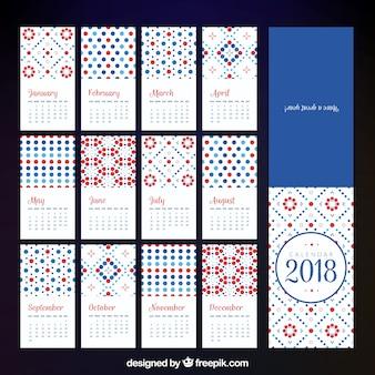 2018 calendário com pontos coloridos