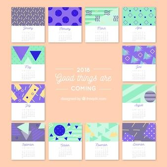 2018 calendário criativo com formas geométricas