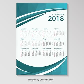 2018 calendário modelo com formas onduladas azuis