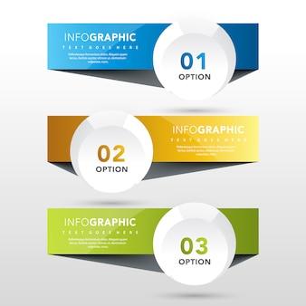 3 banners com modelo de etiqueta redonda