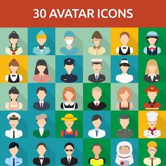 30 avatar ícones
