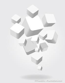 3d quadrados brancos