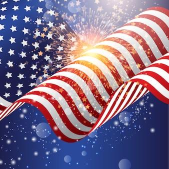 4 de julho de fundo de celebração com bandeira americana com fogos de artifício