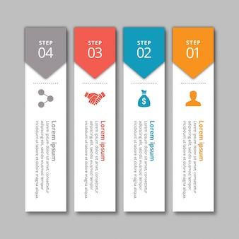 4 etapas de infografia com cores amarelas azul-vermelho e cinza