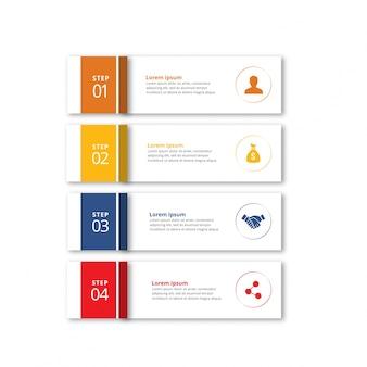 4 etapas de infographic com amarelo alaranjado - cores azuis e vermelhas
