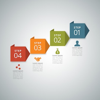 4 etapas de infographic com vermelho verde alaranjado e cores azuis