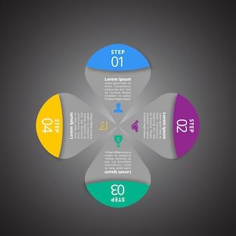 4 passos de infografia com magenta azul, cores verdes e amarelas