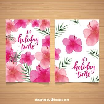 A aguarela floresce cartões com folhas de palmeira