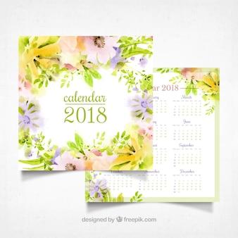 A aguarela floresce o calendário 2018