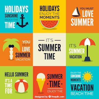 A colagem com elementos de verão em design plano